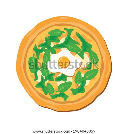 Spinach pizza with egg and mozzarella illustration. Whole spinach pizza top view icon. Vegetarian pizza with spinach leaves icon isolated on a white background