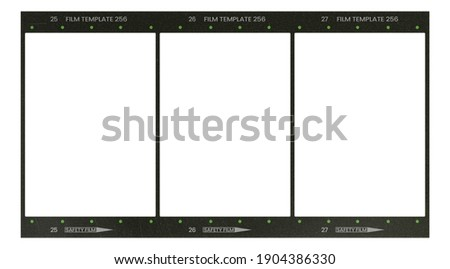 Film frame photo strip high-resolution blank filter. 35mm scan template texture effect. Trendy editable camera roll social stories design. 135 type isolated vintage analog cinema empty scratches. Royalty-Free Stock Photo #1904386330
