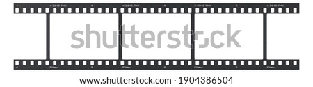 Film frame photo strip high-resolution blank filter. 35mm scan template texture effect. Trendy editable camera roll social stories design. 135 type isolated vintage analog cinema empty scratches. Royalty-Free Stock Photo #1904386504