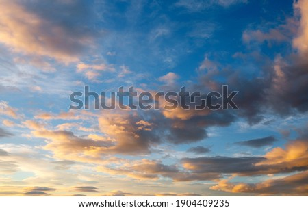Fantastic colorful sunrise with cloudy sky. Image template of textured sky. Scenic image of dramatic light in summer weather. Picturesque photo wallpaper. Natural background. Beauty of earth. Royalty-Free Stock Photo #1904409235