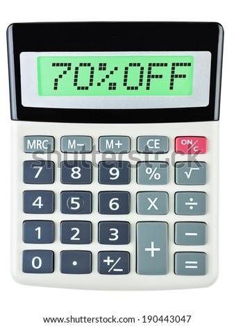 Calculator with 70%OFF on display on white background #190443047