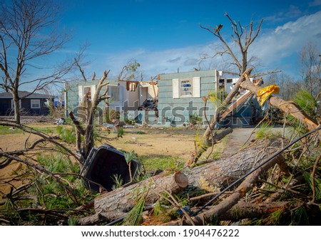 Aftermath of a tornado struck Fultondale, Alabama a northern suburb of Alabama around 10:30 p.m. on a Monday Royalty-Free Stock Photo #1904476222