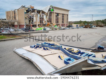Aftermath of a tornado struck Fultondale, Alabama a northern suburb of Alabama around 10:30 p.m. on a Monday Royalty-Free Stock Photo #1904476231