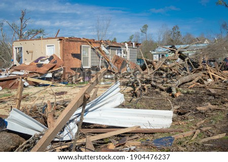 Aftermath of a tornado struck Fultondale, Alabama a northern suburb of Alabama around 10:30 p.m. on a Monday Royalty-Free Stock Photo #1904476237