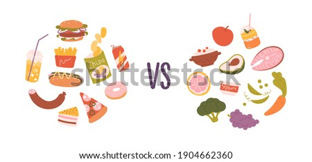 Healthy vs unhealthy food. Concept of choice between good and bad nutrition. Fastfood, sweet and fat eating versus balanced product set. Colored flat vector illustration isolated on white background Royalty-Free Stock Photo #1904662360