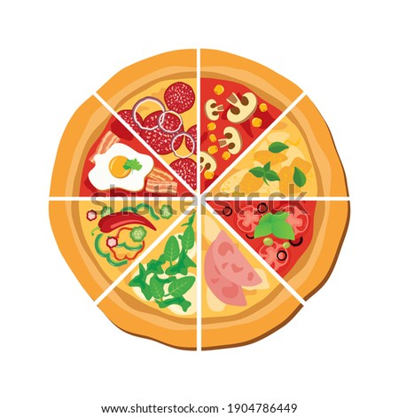 Different kinds of pizza slices icon set. Whole pizza top view icon set. Pizza variations clip art isolated on a white background. Slice of pizza illustration