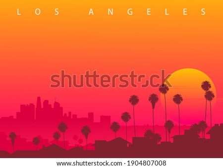 Los Angeles skyline, CA, USA. Symbolic illustration with the sunset over downtown LA. (original not derived image) Royalty-Free Stock Photo #1904807008