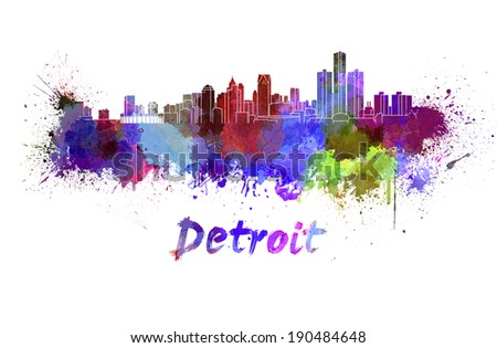 Detroit skyline in watercolor splatters with clipping path