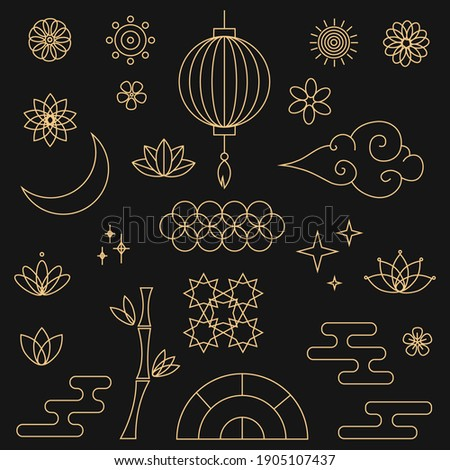 Decorative golden asian elements in oriental style with moon, stars, clouds, patterned circles, lanterns, fireworks, flowers. Set of asian design element