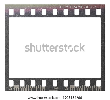 Film frame photo strip high-resolution blank filter. 35mm scan template texture effect. Trendy editable camera roll social stories design. 135 type isolated vintage analog cinema empty scratches. Royalty-Free Stock Photo #1905134266