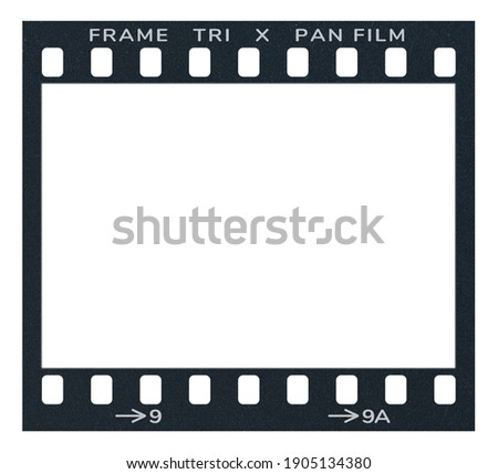 Film frame photo strip high-resolution blank filter. 35mm scan template texture effect. Trendy editable camera roll social stories design. 135 type isolated vintage analog cinema empty scratches. Royalty-Free Stock Photo #1905134380