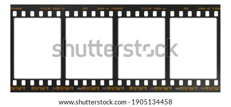 Film frame photo strip high-resolution blank filter. 35mm scan template texture effect. Trendy editable camera roll social stories design. 135 type isolated vintage analog cinema empty scratches. Royalty-Free Stock Photo #1905134458