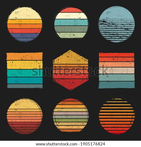 Retro Vintage Sunsets Pack, retro sunset grunge, whit different shapes and colors  Royalty-Free Stock Photo #1905176824