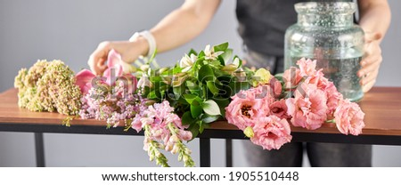 Bouquet 001, step by step installation of flowers in a vase. Flowers bunch, set for home. Fresh cut flowers for decoration home. European floral shop. Delivery fresh cut flower. Royalty-Free Stock Photo #1905510448