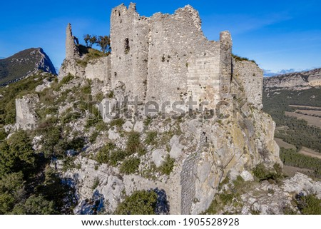 Ruins of the Castle of Montferrand on the mountain Pic St Loup, St-Mathieu-de-Treviers, Occitanie, France