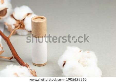 Zero Waste Lipstick packaging. Lip balm tube made of paper. Copy space for text Royalty-Free Stock Photo #1905628360
