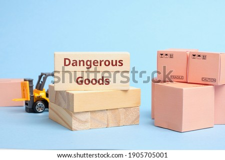 Courier Industry Term dangerous goods. Cargo requiring special packaging and transportation rules Royalty-Free Stock Photo #1905705001