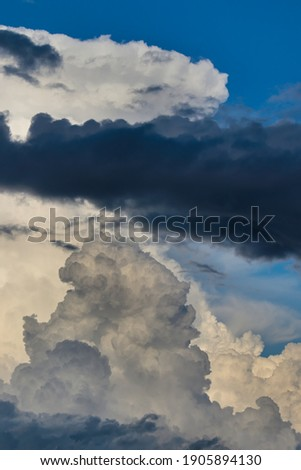 portrait image of a dark cloud floating over white cumulus clouds slightly shaded with yellow under a heavenly blue sky. Royalty-Free Stock Photo #1905894130