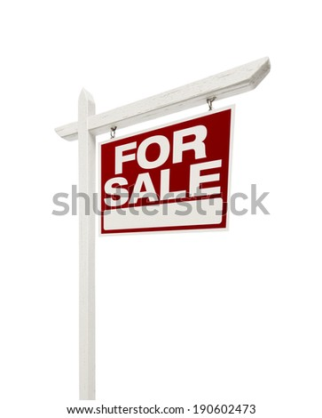 Right Facing Isolated on White Home For Sale Real Estate Sign with Clipping Path. #190602473