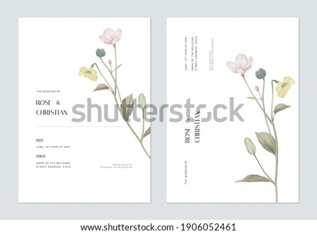 Minimalist floral wedding invitation card template design, various flowers bouquet on white Royalty-Free Stock Photo #1906052461