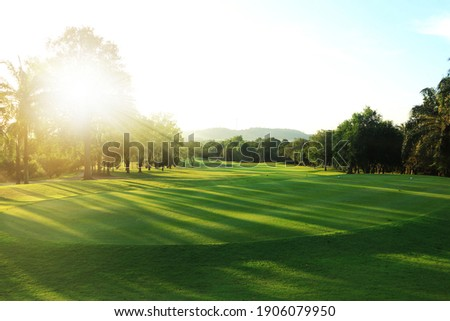 beautiful golf course at the sunset, sunrise time. , morning time Royalty-Free Stock Photo #1906079950