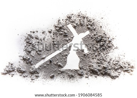 Jesus carries the heavy burden of the cross on Way of the Cross calvary on Golgotha on Godd friday before Easter, drawing illustration in ash or dust as Lent period suffering concept Royalty-Free Stock Photo #1906084585