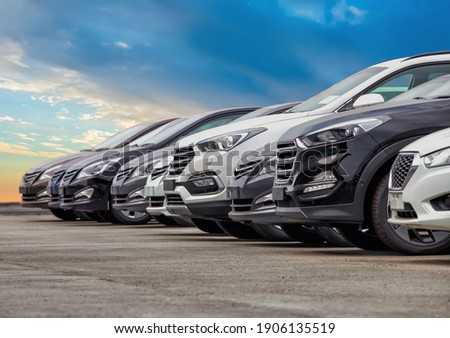 Cars For Sale Stock Lot Row. Car Dealer Inventory Royalty-Free Stock Photo #1906135519