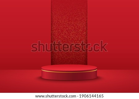 Abstract vector rendering 3d shape for placing the product with copy space. Modern red and gold round podium with geometric background. Vector illustration