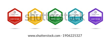 Set of company training badge certificates to determine based on criteria. Vector illustration certified logo design. Royalty-Free Stock Photo #1906225327