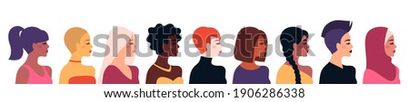 Female diverse faces, different ethnicity and hairstyle. Vector illustration, banner or poster. Woman empowerment movement. Happy International Women's day. Indian, african girls, muslim in hijab Royalty-Free Stock Photo #1906286338