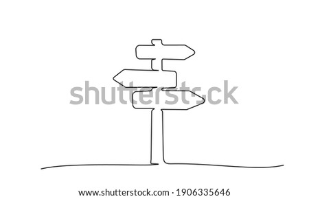 Road direction sign arrows isolated on white background. Continuous one line drawing. Vector illustration for banner, web, design element, template, postcard.