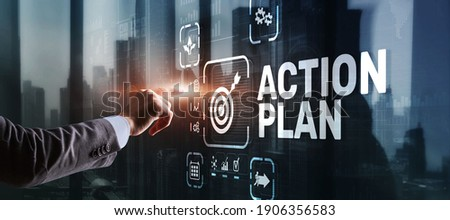 Business Action Plan strategy concept on virtual screen. Time management. Royalty-Free Stock Photo #1906356583