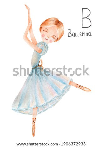 Watercolor cute alphabet  profession for girl. B - ballerina.