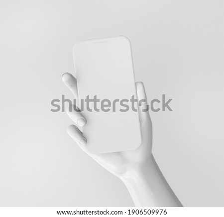3d render illustration of hand holding phone with blank screen. Modern trendy design. White color.