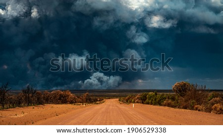 Bushfire Wildfire Smoke in remote area of Forrestania, Mount Holland Western Australia Royalty-Free Stock Photo #1906529338