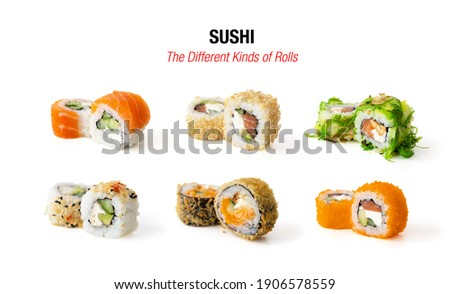 Different kinds of sushi rolls isolated on white background
