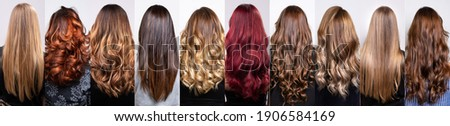 collage with many hairstyles of women with long curly and straight hair, styles with bright highlights Royalty-Free Stock Photo #1906584169