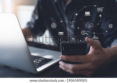 Digital marketing media (website ad, email, social network, SEO, video, mobile app) E-commerce and online shopping concept with icons, Pay Per Click (PPC) dashboard, business technology development Royalty-Free Stock Photo #1906589005