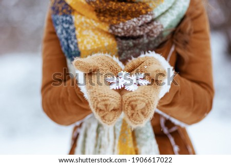 Closeup on woman in brown hat and scarf with mittens and snowflake in sheepskin coat outdoors in the city park in winter. Royalty-Free Stock Photo #1906617022