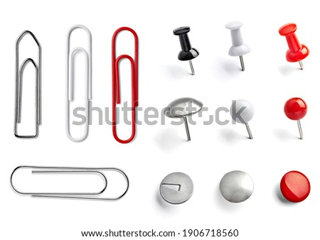 close up of push pin paperclip on white background Royalty-Free Stock Photo #1906718560
