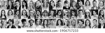 Black and White photo. A lot of happy people, Portraits of group headshots in collage mosaic collection. Many smiling multicultural faces looking at camera. Human resource society database concept.