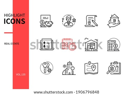 Real estate - modern line design style icons set. Housing and accommodation agency service idea. Realtor, house, schedule, warehouse, cost calculator, keys, office, location, best proposal images Royalty-Free Stock Photo #1906796848
