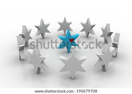 3d silver and blue stars #190679708