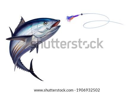 Striped tuna fish, Skipjack Tuna attacks Bait Sea Swim Squids realistic illustration. Black fin yellow tuna in a jump.