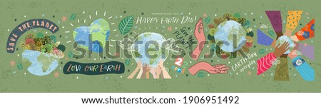 Happy Earth Day! Vector eco illustrations for social poster, banner or card on the theme of saving the planet, human hands protect our earth. Make an everyday earth day Royalty-Free Stock Photo #1906951492