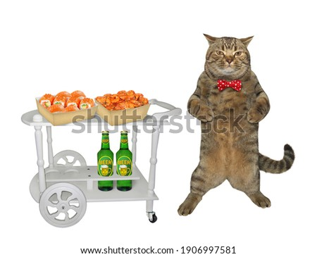 A beige cat is near a service table trolley with bottles of beer and boxes of sushi and shrimp. White background. Isolated.