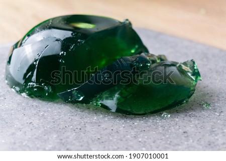 Homemade Green Gelatin Dessert. Green jelly.  Selective focus.  Royalty-Free Stock Photo #1907010001