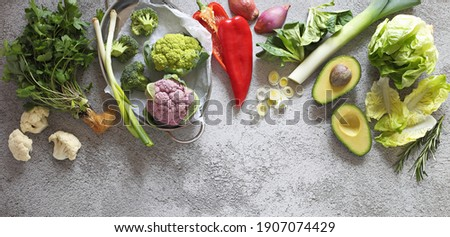 Plant based raw food seasonal vegetables background. Vegetarian, vegan food cooking ingredients. Flat-lay, copy space