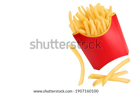 French fries or fried potatoes isolated on white background with clipping path . Top view with copy space for your text. Flat lay Royalty-Free Stock Photo #1907160100