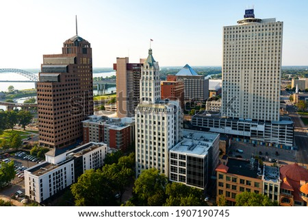 Downtown Memphis Tennessee Skyline at Sunset   Aerial View